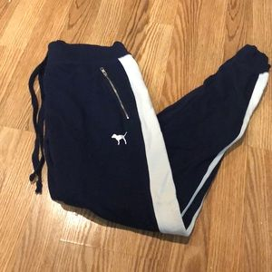 PINK Victoria's Secret! Navy blue striped joggers